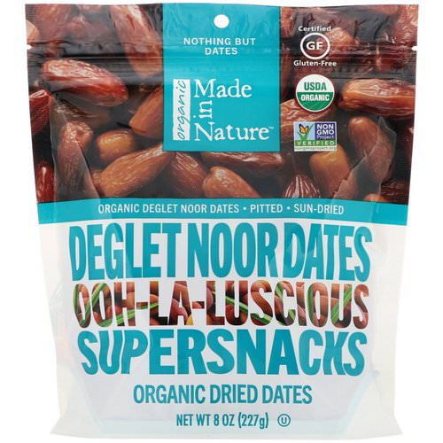 Made in Nature, Organic Dried Deglet Noor Dates, Ooh-La-Luscious Supernacks, 8 oz (227 g) فوائد