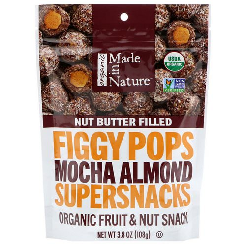 Made in Nature, Organic Figgy Pops, Mocha Almond Supersnacks, 3.8 oz (108 g) فوائد