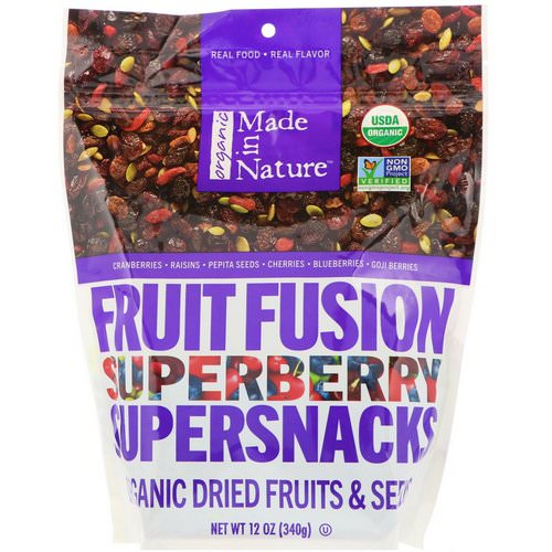 Made in Nature, Organic Fruit Fusion, Superberry Supersnacks, 12 oz (340 g) فوائد