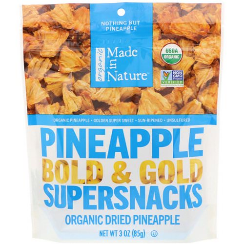 Made in Nature, Organic Dried Pineapple, Bold & Gold Supersnacks, 3 oz (85 g) فوائد