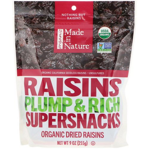 Made in Nature, Organic Dried Raisins, Plump & Rich Supersnacks, 9 oz (255 g) فوائد