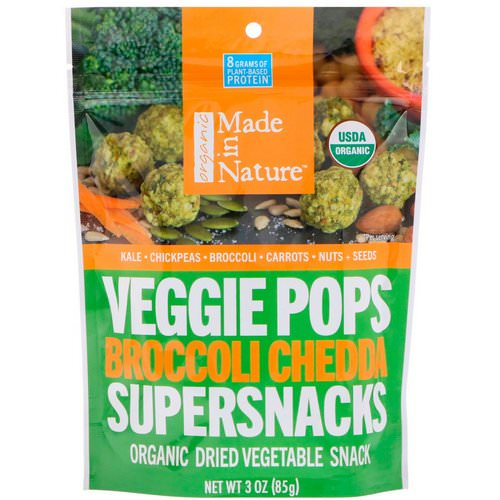 Made in Nature, Organic Veggie Pops, Broccoli Chedda Supersnacks, 3 oz (85 g) فوائد