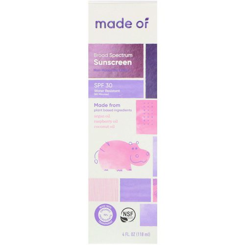 MADE OF, Broad Spectrum Sunscreen, SPF 30, 4 fl oz (118 ml) فوائد