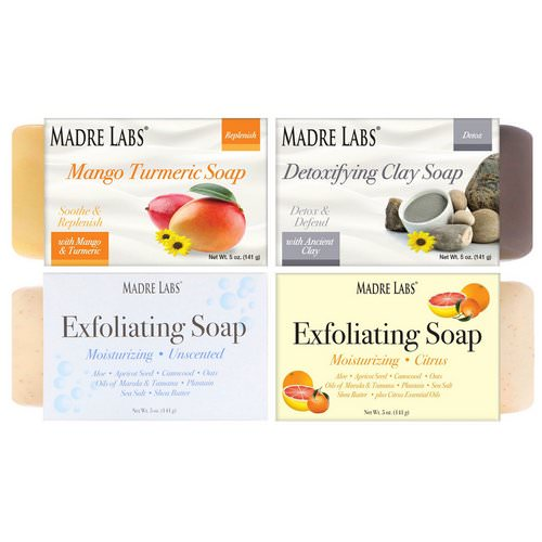 Madre Labs, 4 Cleansing Bar Soaps, Variety Pack, 4 Scents, 5 oz (141 g) Each فوائد
