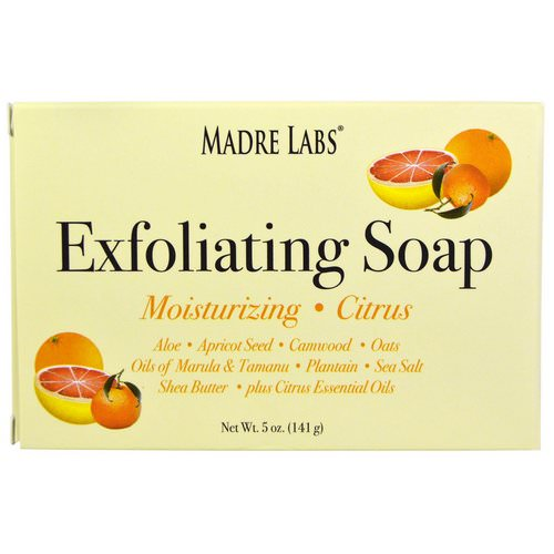 Madre Labs, Exfoliating Bar Soap, with Marula & Tamanu Oils plus Shea Butter, Citrus, 5 oz (141 g) فوائد