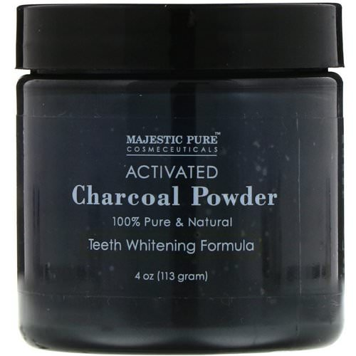 Majestic Pure, Activated Charcoal Powder, Teeth Whitening Formula, 4 oz (113 g) فوائد