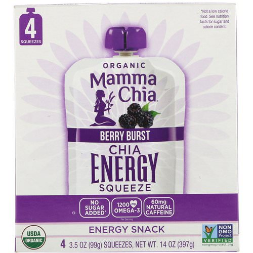 Mamma Chia, Organic Chia Energy Squeeze, Berry Burst, 4 Pouches, 3.5 oz (99 g) Each فوائد