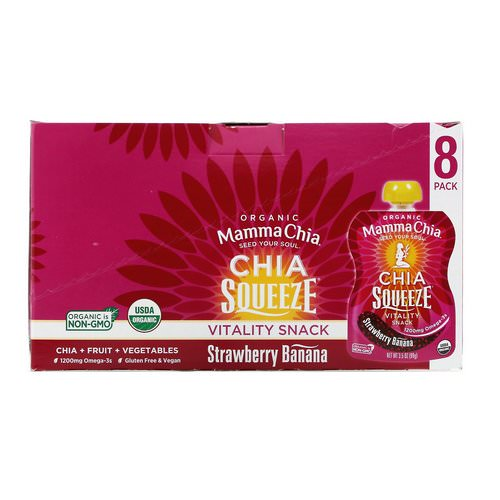 Mamma Chia, Organic Chia Squeeze Vitality Snack, Strawberry Banana, 8 Squeeze, 3.5 oz (99 g) Each فوائد
