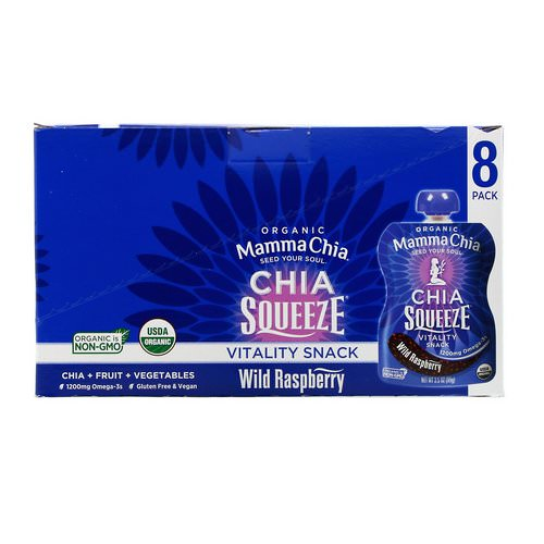 Mamma Chia, Organic Chia Squeeze, Vitality Snack, Wild Raspberry, 8 Squeeze, 3.5 oz (99 g) Each فوائد