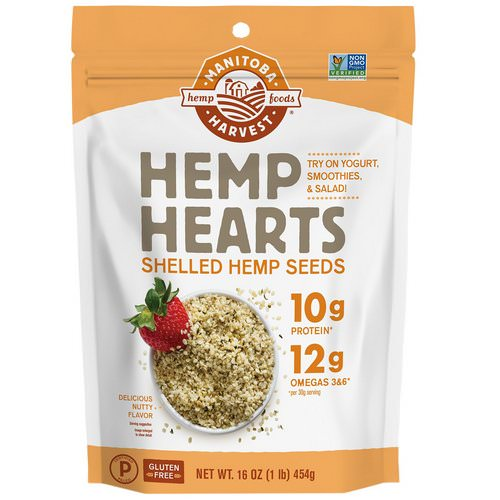 Manitoba Harvest, Hemp Hearts, Shelled Hemp Seeds, Delicious Nutty Flavor, 16 oz (454 g) فوائد