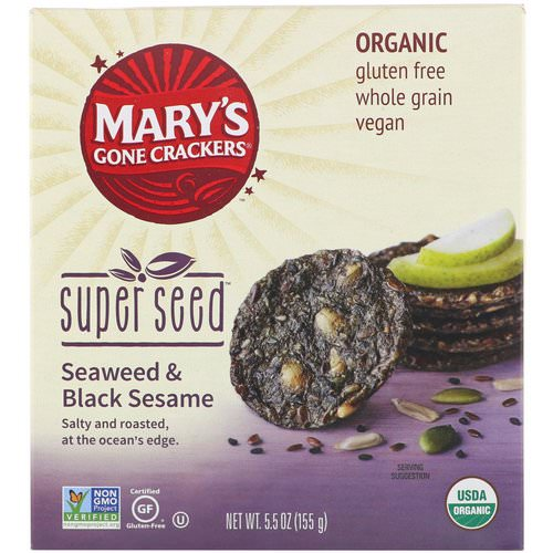 Mary's Gone Crackers, Super Seed Crackers, Seaweed & Black Sesame, 5.5 oz (155 g) فوائد