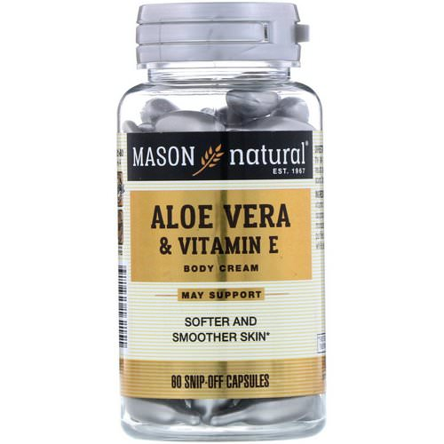 Mason Natural, Aloe Vera & Vitamin E, Body Cream, 60 Snip-Off Capsules فوائد