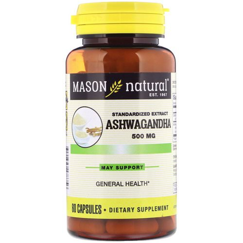 Mason Natural, Ashwagandha, Standardized Extract, 500 mg, 60 Capsules فوائد