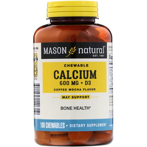 Mason Natural, Chewable Calcium + D3, Coffee Mocha Flavor, 600 mg, 100 Chewables فوائد