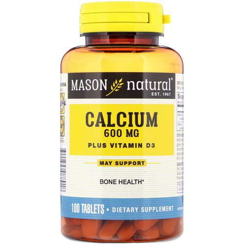 Mason Natural, Calcium Plus Vitamin D3, 600 mg, 100 Tablets فوائد