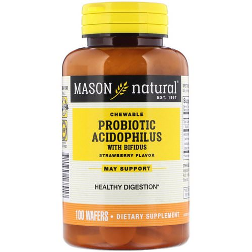 Mason Natural, Chewable Probiotic Acidophilus with Bifidus, Strawberry Flavor, 100 Wafers فوائد