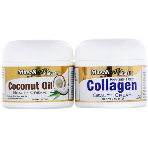 Mason Natural, Coconut Oil Beauty Cream + Collagen Beauty Cream, 2 Jars, 2 oz (57 g) Each فوائد