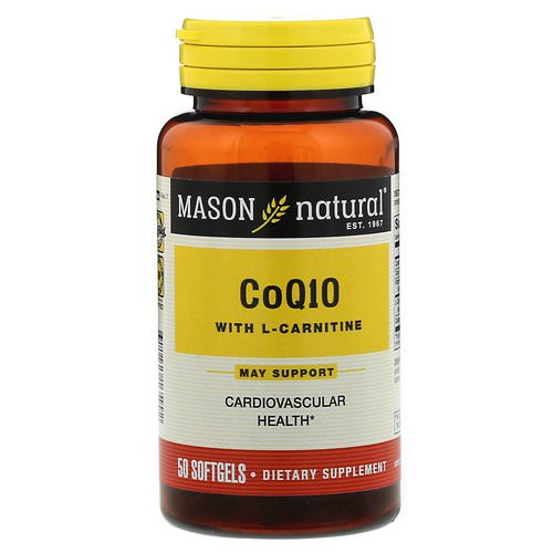 Mason Natural, CoQ10 with L-Carnitine, 50 Softgels فوائد