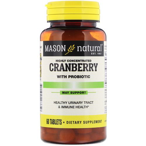 Mason Natural, Cranberry with Probiotic, Highly Concentrated, 60 Tablets فوائد