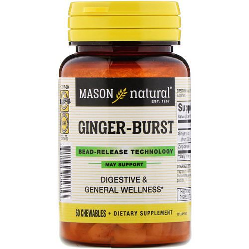 Mason Natural, Ginger-Burst, Bead- Release Technology, 60 Chewables فوائد