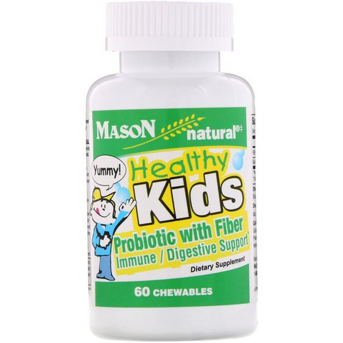 Mason Natural, Healthy Kids Probiotic With Fiber, 60 Chewables فوائد