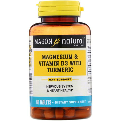 Mason Natural, Magnesium & Vitamin D3 with Turmeric, 60 Tablets فوائد