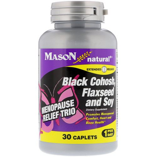 Mason Natural, Menopause Relief Trio, Black Cohosh, Flaxseed and Soy, 30 Caplets فوائد