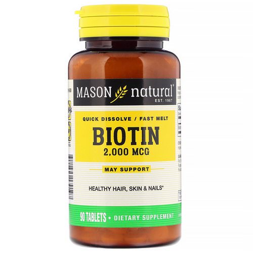 Mason Natural, Quick Dissolve, Fast Melt Biotin, 2,000 mcg, 90 Tablets فوائد