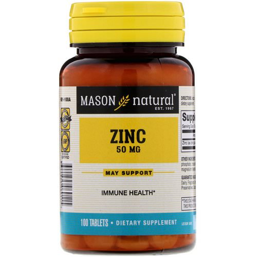 Mason Natural, Zinc, 50 mg, 100 Tablets فوائد