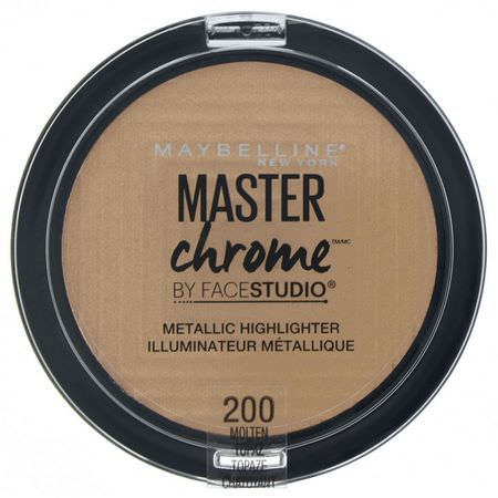 Maybelline, Master Chrome, Metallic Highlighter, Molten Topaz 200, 0.24 oz (6.7 g):تمييز,جه