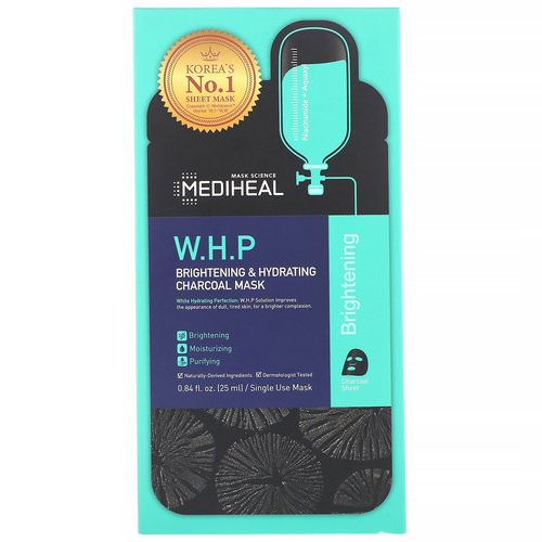 Mediheal, W.H.P, Brightening & Hydrating Charcoal Mask, 5 Sheets, 0.84 fl oz (25 ml) Each فوائد