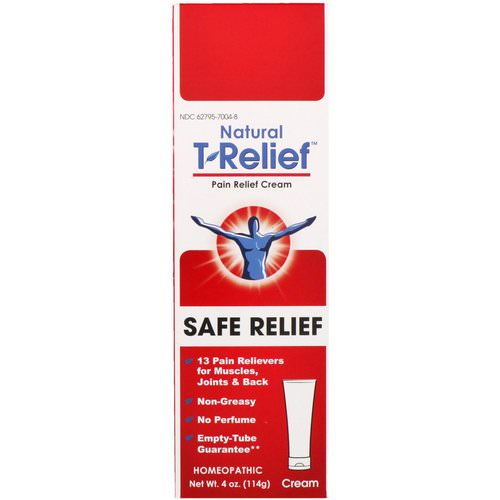 MediNatura, Natural T-Relief, Pain Relief Cream, Safe Relief, 4 oz (114 g) فوائد