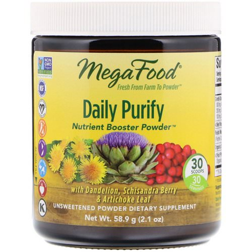 MegaFood, Daily Purify, Nutrient Booster Powder, Unsweetened, 2.1 oz (58.9 g) فوائد