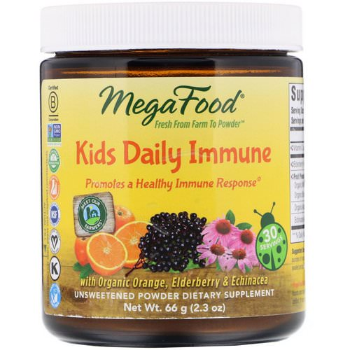 MegaFood, Kids Daily Immune, Unsweetened, 2.3 oz (66 g) فوائد
