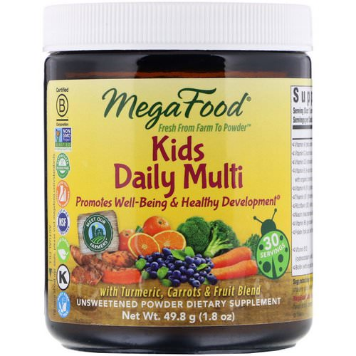 MegaFood, Kids Daily Multi Powder, Unsweetened, 1.8 oz (49.8 g) فوائد