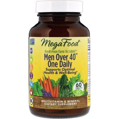 MegaFood, Men Over 40 One Daily, Iron Free Formula, 60 Tablets فوائد