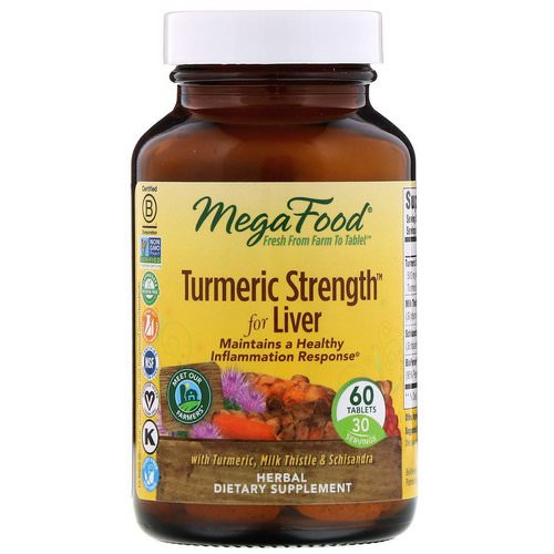MegaFood, Turmeric Strength For Liver, 60 Tablets فوائد