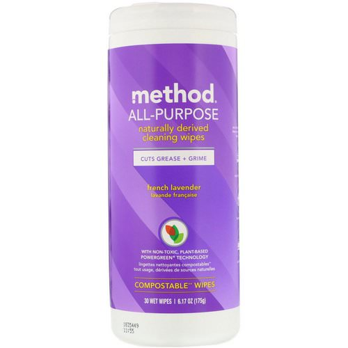 Method, All-Purpose, Naturally Derived Cleaning Wipes, French Lavender, 30 Wet Wipes فوائد