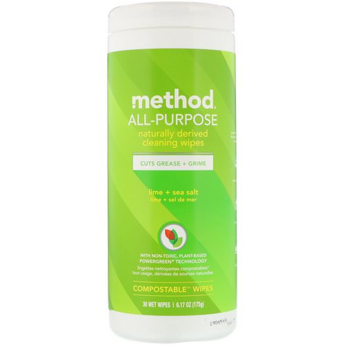 Method, All-Purpose, Naturally Derived Cleaning Wipes, Lime + Sea Salt, 30 Wet Wipes فوائد