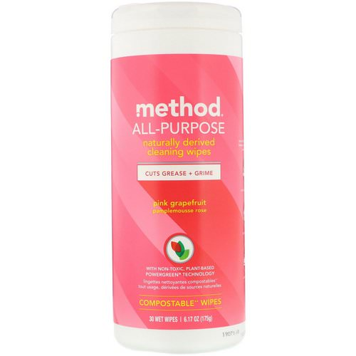 Method, All-Purpose, Naturally Derived Cleaning Wipes, Pink Grapefruit, 30 Wet Wipes فوائد