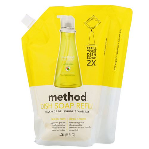 Method, Dish Soap Refill, Lemon Mint, 36 fl oz (1.06 l) فوائد