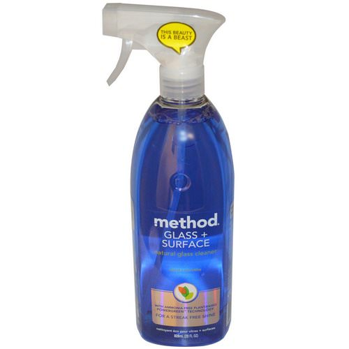 Method, Glass + Surface, Natural Glass Cleaner, Mint, 28 fl oz (828 ml) فوائد
