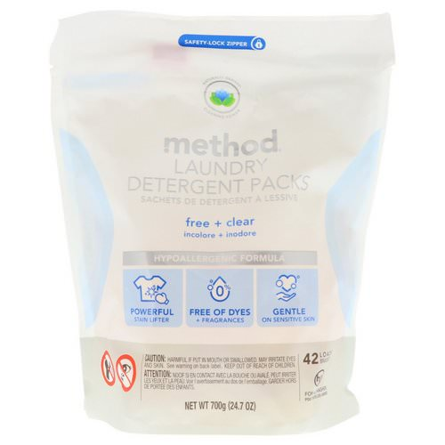 Method, Laundry Detergent Packs, Free + Clear, 42 Loads, 24.7 oz (700 g) فوائد