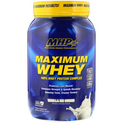 MHP, Maximum Whey, Vanilla Ice Cream, 2.02 lbs (915 g) فوائد