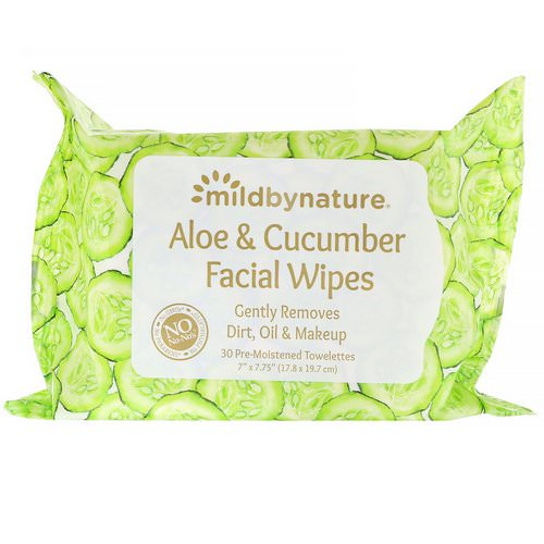 Mild By Nature, Aloe & Cucumber Facial Wipes, Biodegradable, 30 Pre-Moistened Towelettes فوائد