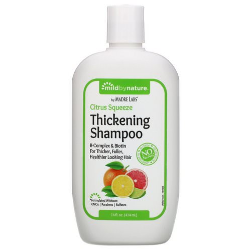Mild By Nature, Thickening B-Complex + Biotin Shampoo by Madre Labs, No Sulfates, Citrus Squeeze, 14 fl oz (414 ml) فوائد