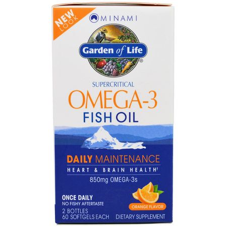 Minami Nutrition, Supercritical, Omega-3 Fish Oil, 850 mg, Orange Flavor, 120 Softgels Each:زيت السمك أوميغا 3, EPA DHA