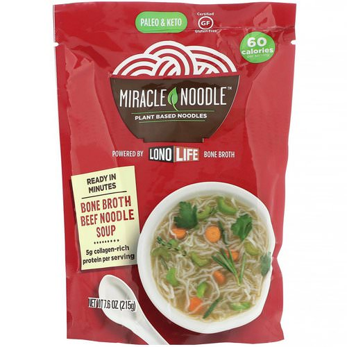 Miracle Noodle, Bone Broth Noodle Soup, Beef, 7.6 oz (215 g) فوائد