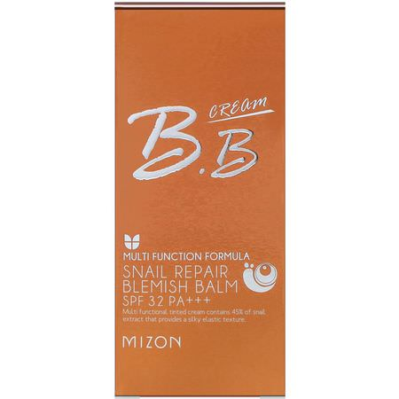 Mizon, BB Cream, Snail Repair Blemish Balm, SPF 32 PA+++, Rose Beige, 1.69 fl oz (50 ml):,اقية من الشمس, حمام
