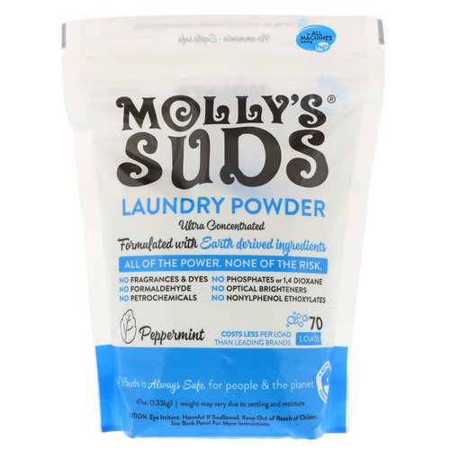 Molly's Suds, Laundry Powder, Ultra Concentrated, Peppermint, 70 Loads, 47 oz (1.33 kg) فوائد